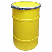 US Roto Molding 20 Gallon Plastic Drum SS-OH-20 - Open Head with Plain Lid - Bolt Ring - Yellow