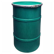 US Roto Molding 30 Gallon Plastic Drum SS-OH-30 - Open Head with Plain Lid - Bolt Ring - Green