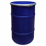 US Roto Molding 30 Gallon Plastic Drum SS-OH-30 - Open Head with Plain Lid - Lever Lock - Navy Blue