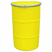 US Roto Molding 30 Gallon Plastic Drum SS-OH-30 - Open Head with Plain Lid - Lever Lock - Yellow