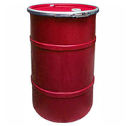 US Roto Molding 35 Gallon Plastic Drum SS-OH-35 - Open Head with Bung Cover - Lever Lock - Red