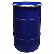 US Roto Molding 35 Gallon Plastic Drum SS-OH-35 - Open Head with Plain Lid - Bolt Ring - Navy Blue