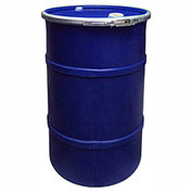 US Roto Molding 55 Gallon Plastic Drum SS-OH-55 - Open Head with Bung Cover - Bolt Ring - Navy Blue