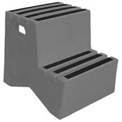 "2 Step Plastic Step Stand - Gray 21""W x 24-1/2""D x 19-1/2""H - ST-2 GY"
