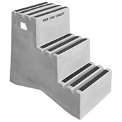 """3 Step Plastic Step Stand - Gray 20""""W x 33-1/2""""D x 28-1/2""""H - ST-3 GY"""