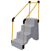 "4 Step Plastic Step Stand W/ Handrails - Gray 27""W x 38""D x 44""H - ST-4 GY"