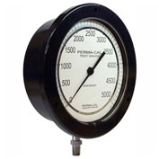 "Perma-Cal 100FTM06A21, 6"" Dial, 0-200 psi, 1/4"" NPT, Bottom Mount, SS Connection, BLK Front Flange"
