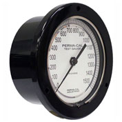 "Perma-Cal 101FTM07A01, 4.5"" Dial, 0-300 psi, 1/4"" NPT, Rear Mount, SS Connection, BLK Front Flange"