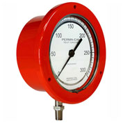 "Perma-Cal 101FTM15R21, 4.5"" Dial, 0-5, 000 psi, 1/4"" NPT, BTM Mount, SS Connection, RD Front Flange"
