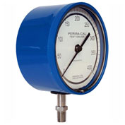 "Perma-Cal 101NTM09B21, 4.5"" Dial, 0-600 psi, 1/4"" NPT, Bottom Mount, SS Connection, BL No Flange"