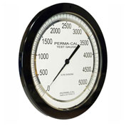 """Perma-Cal 108FTM27A21, 8.5"""" Dial, 0-30 psi, 1/4"""" NPT, Bottom Mount, SS Connection,BLK Front Flange"""