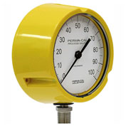 "Perma-Cal 121TID27Y23, 4.5"" Dial, 0-30 psi, 1/2"" NPT, Bottom Mount, SS Connection, YLW Turret"