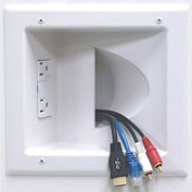 Recessed Low Voltage Media Plate w/ Duplex Surge Suppressor