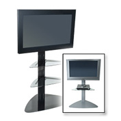 Flat Panel TV Floor Stand w/ 1 Clear Glass Shelf - Black