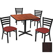 """36"""" Square Table & Ladder Back Chair Set, Figured Mahogany Laminate Table/Red Vinyl Chair"""