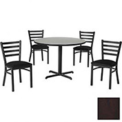 "42"" Round Table & Ladder Back Chair Set, Figured Mahogany Laminate Table/Black Vinyl Chair"