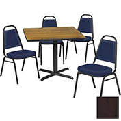 """36"""" Square Table & Economy Stack Chair Set, Figured Mahogany Laminate Table/Slate Blue Vinyl Chair"""