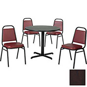 """36"""" Round Table & Economy Stack Chair Set, Figured Mahogany Laminate Table/Burgundy Vinyl Chair"""