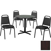 """36"""" Round Table & Economy Stack Chair Set, Figured Mahogany Laminate Table/Black Vinyl Chair"""