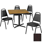 """42"""" Square Table & Economy Stack Chair Set, Figured Mahogany Laminate Table/Black Vinyl Chair"""