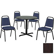 """42"""" Round Table & Economy Stack Chair Set, Figured Mahogany Laminate Table/Slate Blue Vinyl Chair"""