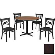 "42"" Round Table & Criss-Cross Back Chair Set, Figured Mahogany Laminate Table/Black Vinyl Chair"
