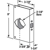 "Lock/Door Guard, 3-7/8""Lx9""H, 1-3/4"" Thick Door, 2-3/8"" Backset, Brass"