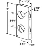 "Combo Lock/Door Guard, 3-7/8""Lx9""H, 1-3/4"" Thick Door, 2-3/8"" Backset, Brass"