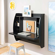 Prepac Manufacturing Floating Desk with Storage Black