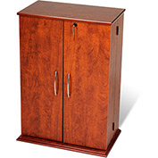 Prepac Manufacturing Cherry & Black Locking Media Storage Cabinet