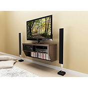 """Prepac Manufacturing Espresso 42"""" Wide Wall Mounted Av Console - Series 9 Designer Collection"""