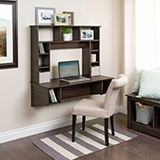 Prepac Manufacturing Floating Desk with Storage - Espresso