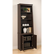 Prepac Manufacturing Espresso Tall Slant-Back Bookcase With 2 Shaker Doors
