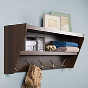 Prepac Manufacturing Floating Entryway Shelf & Coat Rack In Espresso