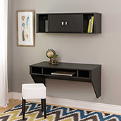 Prepac Manufacturing Designer Floating Desk & Hutch Set in Washed Black
