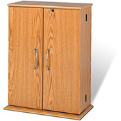 Prepac Manufacturing Oak & Black Locking Media Storage Cabinet