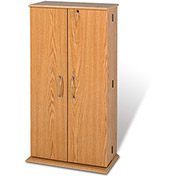 Prepac Manufacturing Oak & Black Tall Locking Media Storage Cabinet