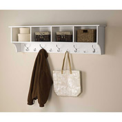 "Prepac Manufacturing White 60"" Wide Hanging Entryway Shelf"