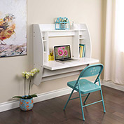 Prepac Manufacturing Floating Desk with Storage White