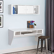 Prepac Manufacturing Designer Floating Desk & Hutch Set in White