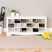 Prepac Manufacturing White Shoe Storage Cubbie Bench