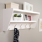 Prepac Manufacturing Floating Entryway Shelf & Coat Rack In White