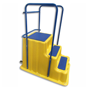 "Premier Plastics Step Stand w/ Safety Handrails, 3 Step Yellow 43""L x 28""W x 30""H - PPF 5330R"