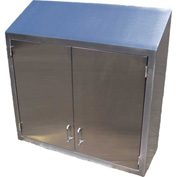 "Stainless Steel Wall Cabinet 48"" x 36"" x 13"" Deep with Sloped Top & Hinged Solid Double Doors"