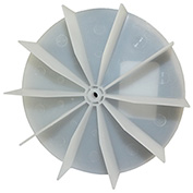 "Small Plastic Push-On Fan Blade, 4-5/8"" Dia., CCW or CW, 7/32"" Bore, 1"" Blade Depth, Wheel Blade"