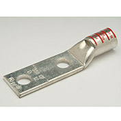 "Penn-Union BLU035D, Cu Compress. Lug Std Barrel 2 Hole w/Inspect. Window 350kcmil 1/2"" Stud Red - Pkg Qty 10"