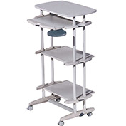 "Rocada RD-5220 Mobile Computer Table w/ Height Adjustable Trays, 26-3/8""W x 19-1/4""D x50-3/8""H, Gray"