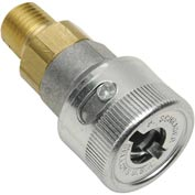 "Female Coupler, 1/4""-18 Male NPT, 1/4"" Body, Steel, 300 PSI, Schrader Twist-Lock, Cam - Pkg Qty 5"