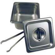 "Paragon 5064S - Steam Table Pan Set, 1/6 Size, 4"" Deep with Lid and Tongs, Stainless Steel"