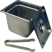 "Paragon 5066S - Steam Table Pan Set, 1/6 Size, 6"" Deep with Lid and Tongs, Stainless Steel"